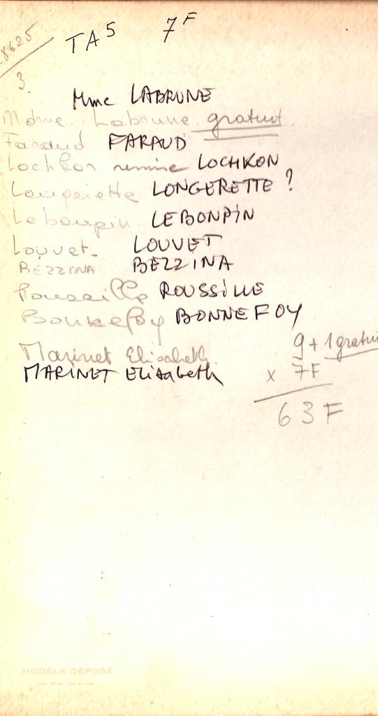 1968 - TA5- Noms