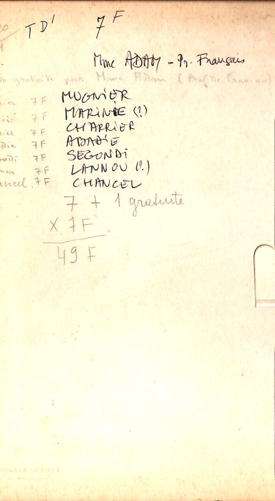 1968 - TD1 - Noms