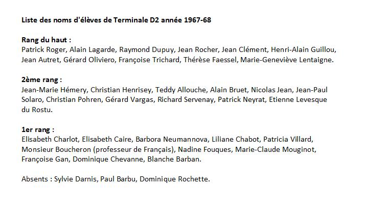 1967-68 noms des élèves de TD2