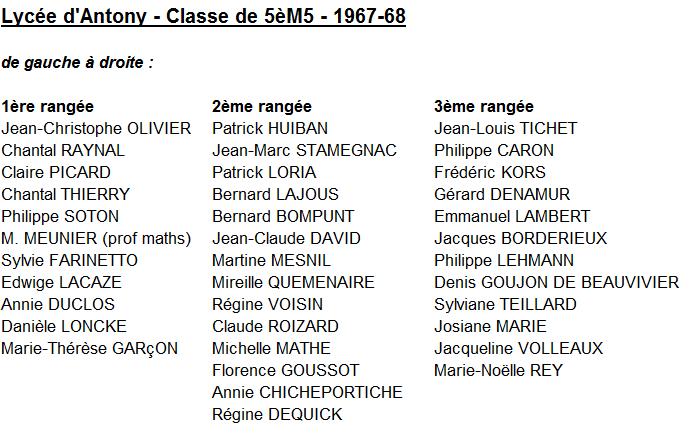 5M5 67-68 Noms