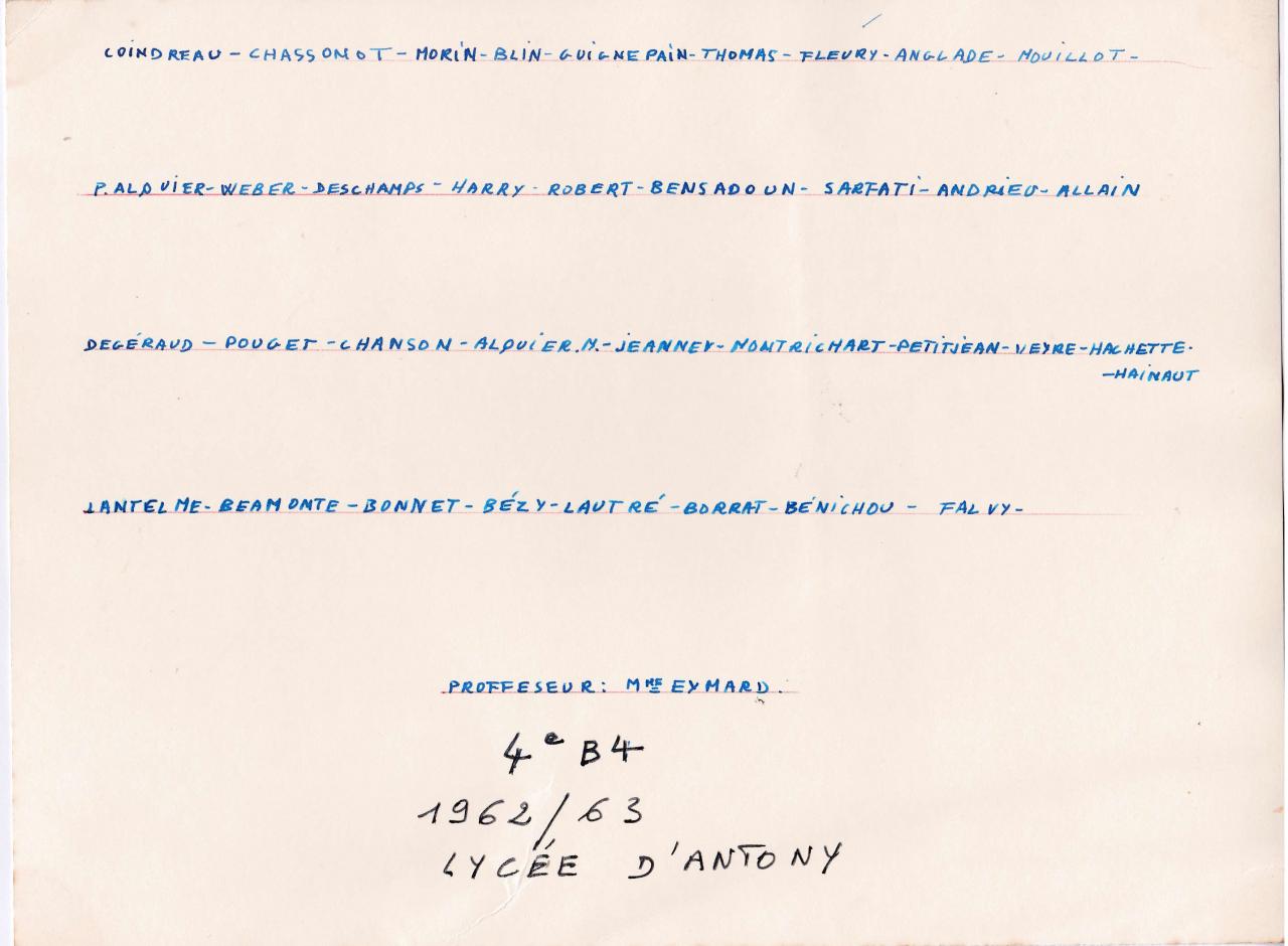 1962-63 4B4 Noms