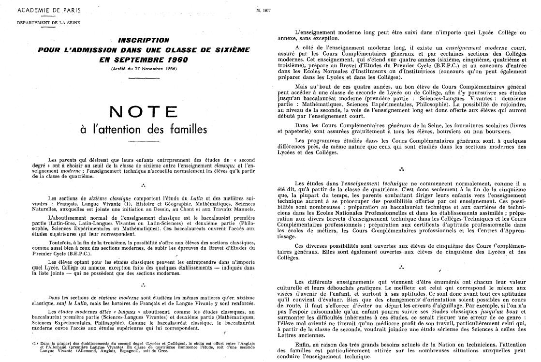 Admission en 6ème pour les élèves du privé. 1960
