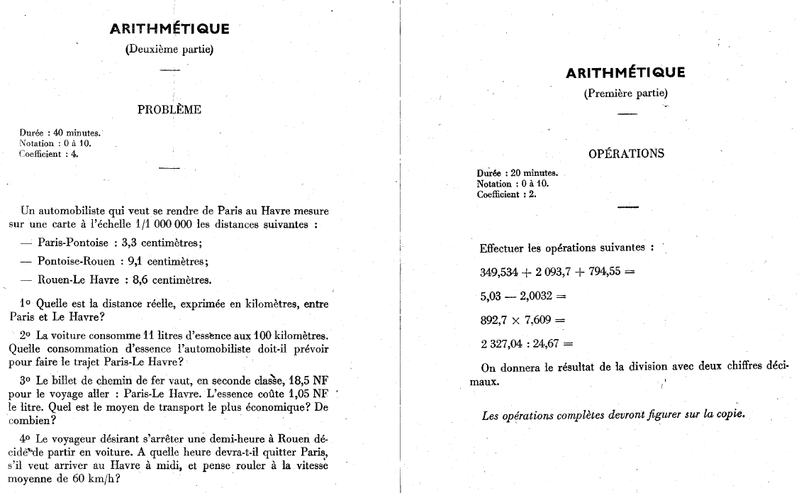 Arithmétique. Entrée 1960 en 6ème