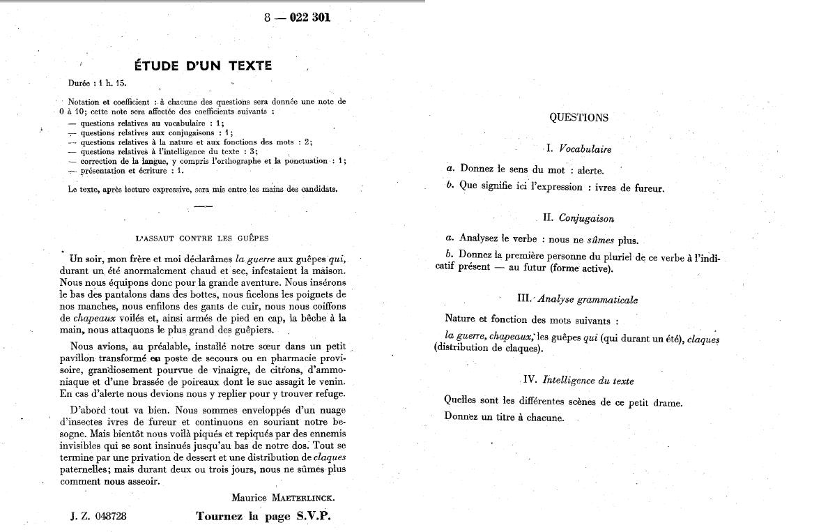 Entrée en 6ème. Français. 1960