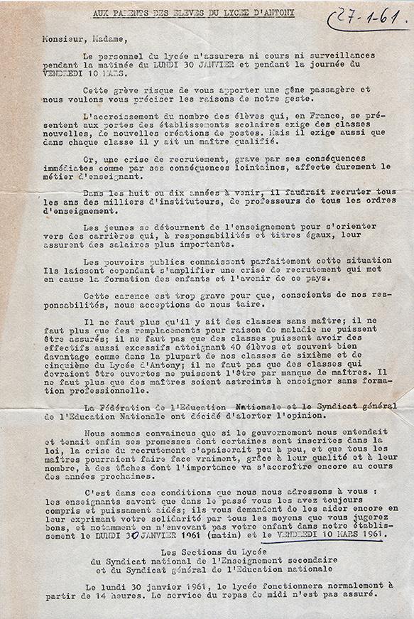 Grève de 1961. Lettre des syndicats.