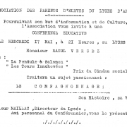Invitation. Conférence de M. Raoul Vergez. 1961