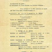 Invitation à la fête du Lycée 17 juin 1961.