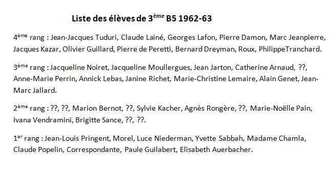 1962-63 3B5 Noms des élèves