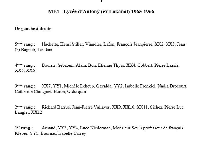 Liste 1965 66 Ter ME1