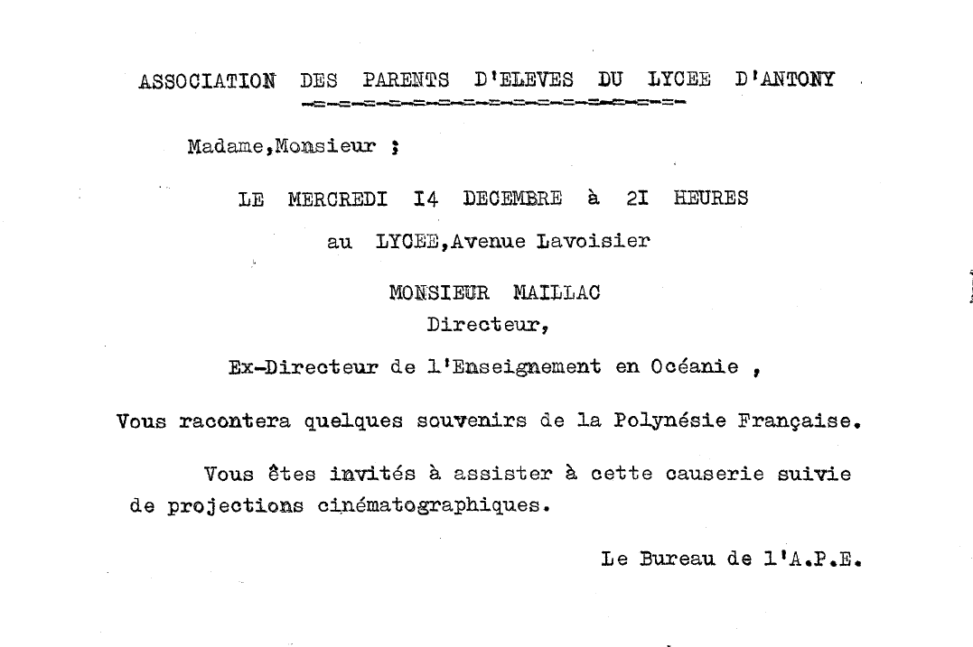 Maillac. Invitation à une causerie. 1960