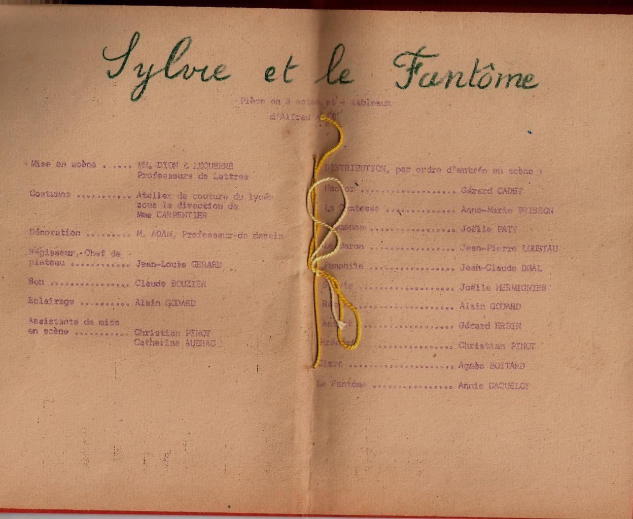 Programme 1961 des Arlequins